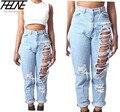 Plus Size 4XL Mulheres Calça Jeans de Cintura Alta Grande Buraco Rasgado Estilo solto Em Linha Reta Fina de Verão Calças Jeans Da Marca de Moda Casual rasgado