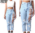 Plus Size 4XL Women Jeans High Waist Big Hole Ripped Loose Straight Thin Summer Style Fashion Casual Brand Denim Pants Torn