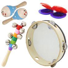 6 Pcs/Set Wooden Musical Toys 2 Maracas 1 Tambourine 2 Castanets 1 Hand Bell for Toddler Kids цена