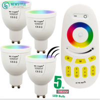 5 Wát Mi Ánh Sáng LED Bulb Đèn Dimmable GU10 220 V 86-265 V RGBWW Spotlight Trong Nhà + 2.4 Gam RF Không Dây LED Điều Khiển Từ Xa