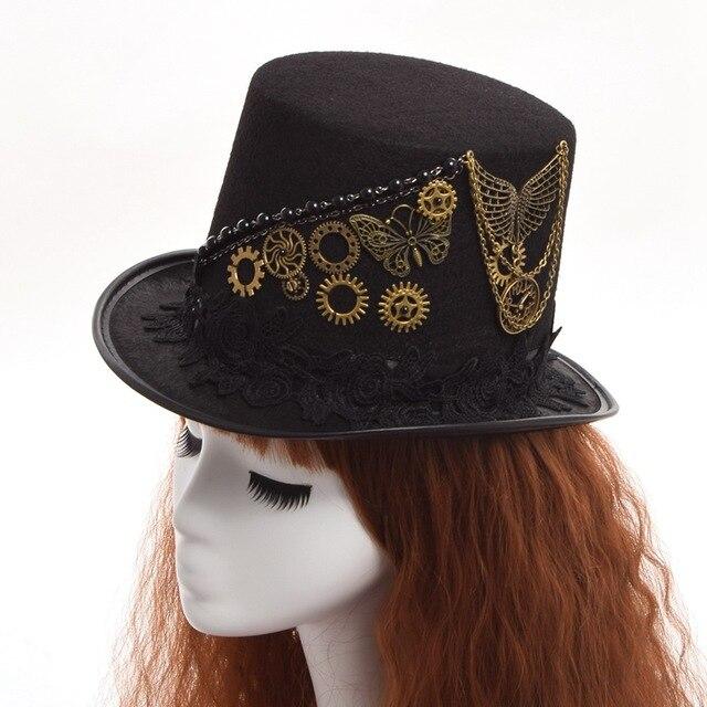 incredible prices good texture cheap sale € 17.8 27% de réduction|1 pc unisexe Vintage engrenage papillon noir  Steampunk chapeau haut de forme cadeau de fête dans fedoras de Vêtements ...