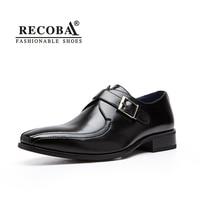 Mens di lusso casuali del progettista di marca del cuoio genuino formale abito da sposa scarpe singolo monaco fibbie cinturino piatte scarpe zapatos hombre