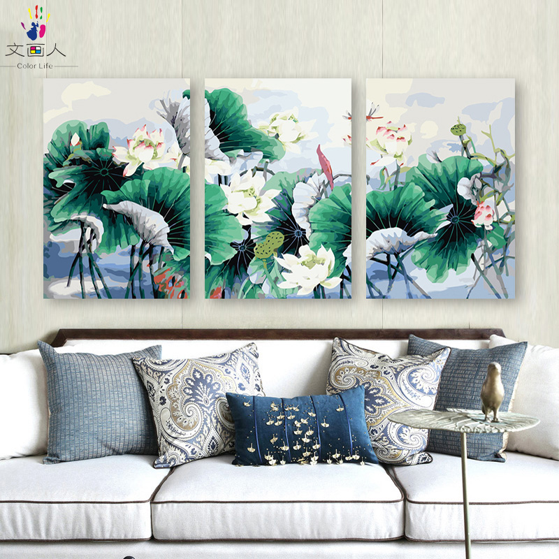 diy painting coloring by numbers with kits on canvas Plant flower 3 pieces Lotus flower pictures paint by numbers with diy frame