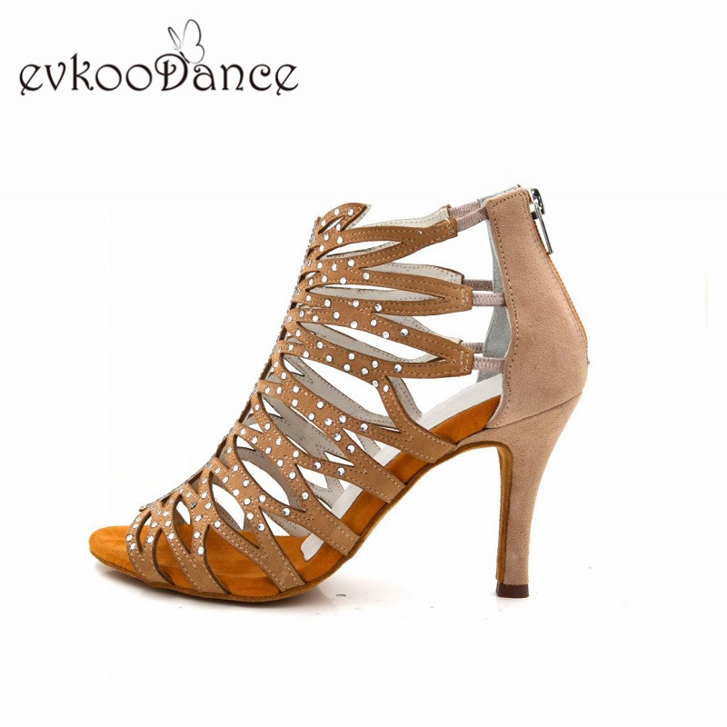 Zapatos De Baile Size US 4 12 Open Toe Khaki Nubuck With Rhinostone Professional 8 5