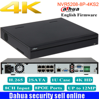 Dahua Original NVR5208 8P 4kS2 8CH NVR 12MP 8PoE 4K H 265 Network Video Recorder 2SATA