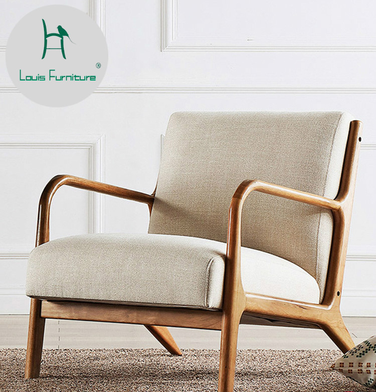 US $360.0 |Louis Fashion Living Room Chair North European Style Simple  Modern Single Sofa American Solid Wood Leisure Bedroom-in Living Room  Chairs ...