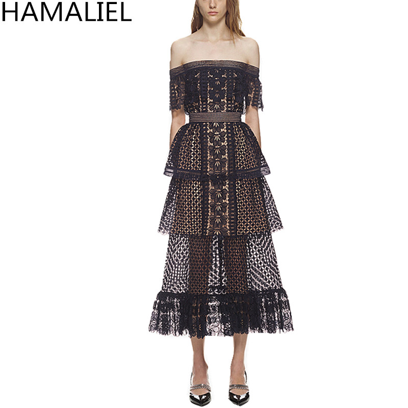 HAMALIEL Autoportrait Hors Épaule Couches Gâteau Longue Femme Robe 2018 D'été Piste Volants En Dentelle Évider Sexy Robe Dos Nu