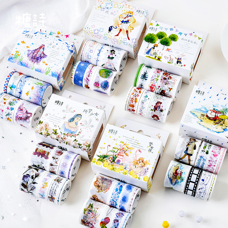 8pcs/pack Fairy Flowers Theme Washi Tape Diy Decoration Scrapbooking Planner Masking Tape Adhesive Tape Label Sticker Stationery