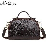 Norbinus Women Messenger Bags Genuine Leather Shoulder Crossbody Bag Laides Leather Handbags Female Top Handle Bags Flower Tote