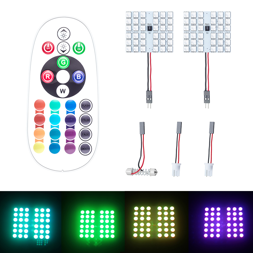 2pcs rgb led panel car auto interior reading dc 12v 5050 map lamp bulb light dome festoon remote. Black Bedroom Furniture Sets. Home Design Ideas
