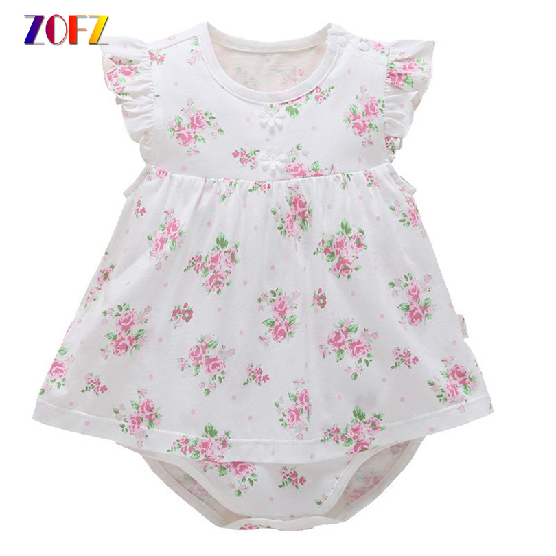 ZOFZ New Baby Girl Dress Cute Cotton Sleeveless Dress Summer Floral Printed Baby Clothing For Newborn O-neck Baby Girls Clothes