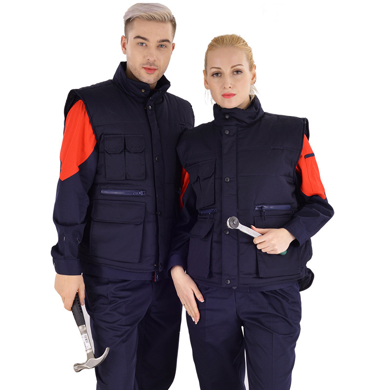 Winter polus size work clothes Cotton vest Unisex auto repair wear Mechanic welding outdoor work warm