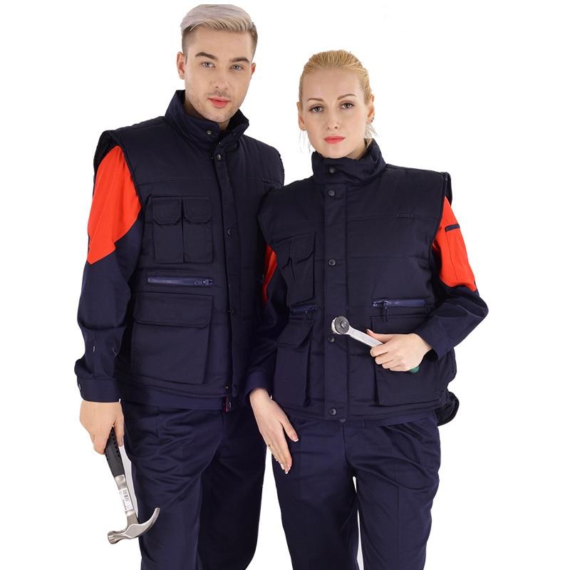 Winter Polus Size Work Clothes Cotton Vest Unisex Auto Repair Wear Mechanic Welding Outdoor Work Warm Multi-pocket Vest 2019 New