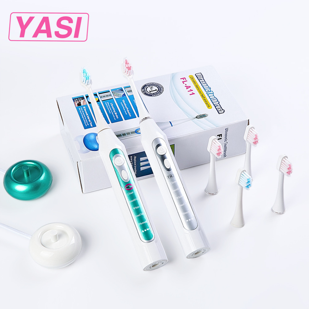 Yasi New A11 Sonic Electric Toothbrush Rechargeable USB Charge 3 Pcs Replaceable Heads Timer Teeth Tooth Brush Waterproof fl a11 electric toothbrush black