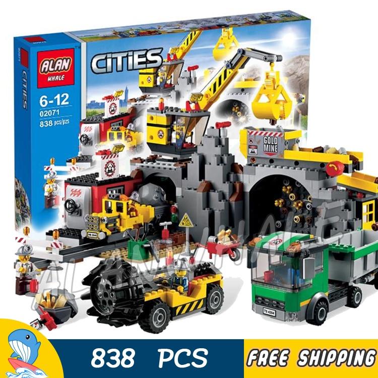 838pcs New City The Mine Drill Truck Crane 02071 Model Building Blocks Assemble Toys Bricks Holiday Hobby Compatible With lego new phoenix 11207 b777 300er pk gii 1 400 skyteam aviation indonesia commercial jetliners plane model hobby