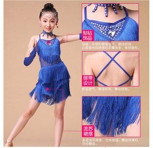 Image 5 - Kids Salsa Dresses Sequin Latin Dance Dress For Girls Fringe Dancing Dancewear Stage Samba Junior Ballroom Standart Costumes