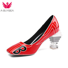 New Patent Leather Women Pumps Slip-on Printting Strange Crystal Heels Spring Women Shoes Ladies Office High Heel Shoes