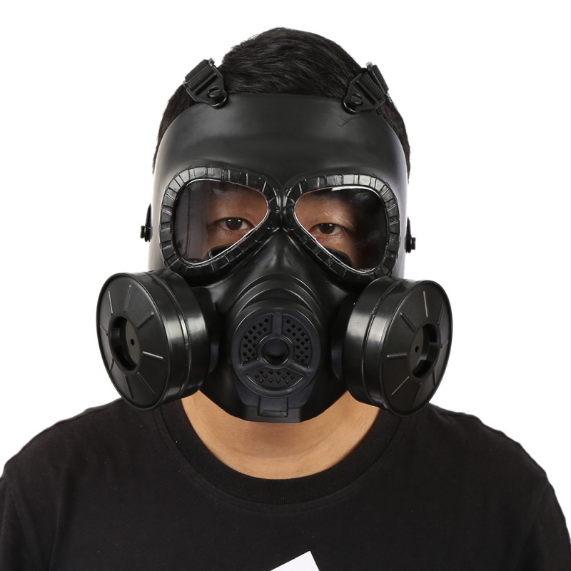 USA Shipping M04 Gas Mask Equipped With Helmet Double Fan Double Filter Gas Mask CS Paintball Military Tactical Army Perspiratio