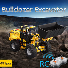 CaDA Wheel Loader Bulldozer Excavator RC Building Block Brick Set Remote Control Crawler Compatible Legoing Technic City(China)