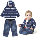 Cheap & Qualidade Com Capuz Bebê bebes Menino Terno Bonito Conjunto de Roupas Menino 2016 do bebê roupas infantis roupas de Algodão Com Capuz Cardigan + calças de brim 2 pcs Set
