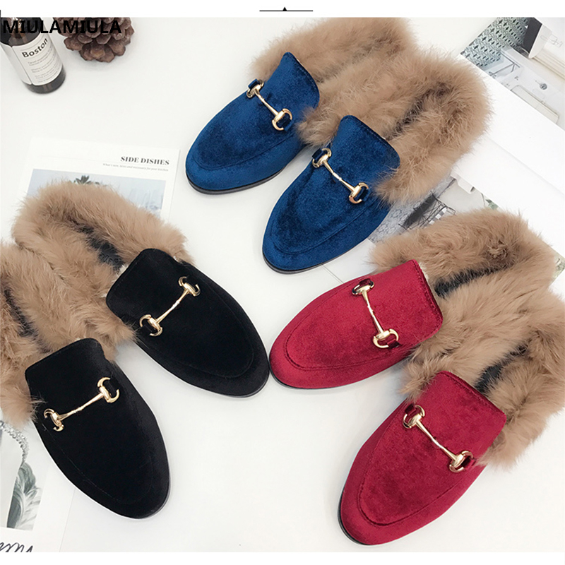 MIULAMIULA Brand Designer Black Blue Red Corduroy Metal Chain Rabbit Hair Woman Fur Slides Slip On Loafers Mules Flip Flops35-41 miulamiula brand designers 2018 fashion rabbit hair woman flat slides lady shoes furry slippers slip on loafers mules flip flops