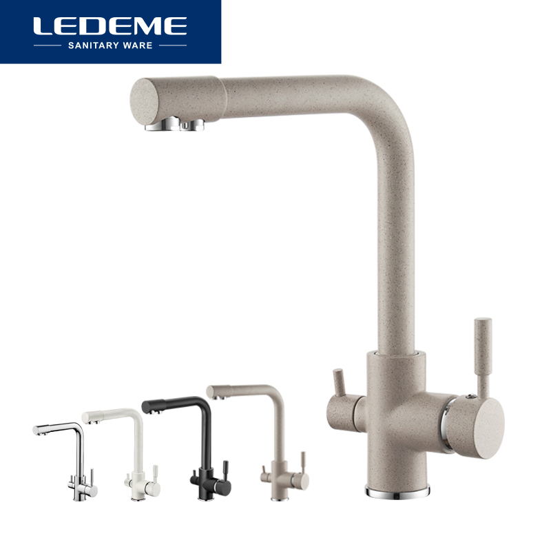 LEDEME Waterfilter Taps Kitchen Faucets Mixer Drinking Water Filter Multi-color Kitchen Faucet Sink Tap Water Tap Black White gappo waterfilter taps kitchen faucet mixer taps water faucet kitchen sink mixer bronze water tap sink torneira cozinha ga1052 8