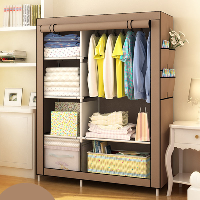 Minimalist Modern Reinforced Large Wardrobe DIY Non-woven Foldable Portable Clothing Storage Cabinet Dustproof Cloth Closet(China)