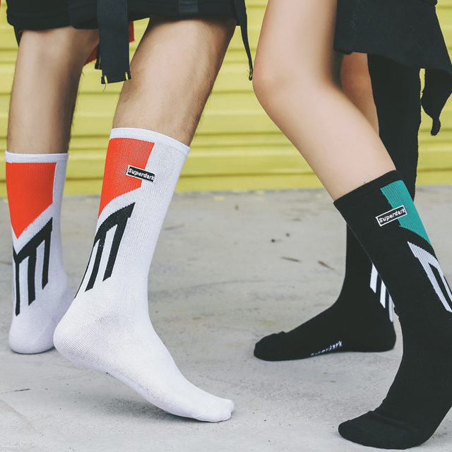 Color Patch pattern Hip hop Cotton Tube Sock for Couple Europe and America Personality Cool College Street Skateboard Men Sox