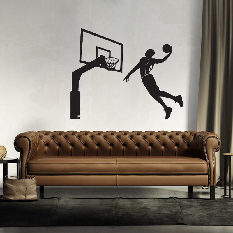3D dunk wallpaper art basketball wall stickers sports children s room living room bedroom decoration waterproof murals