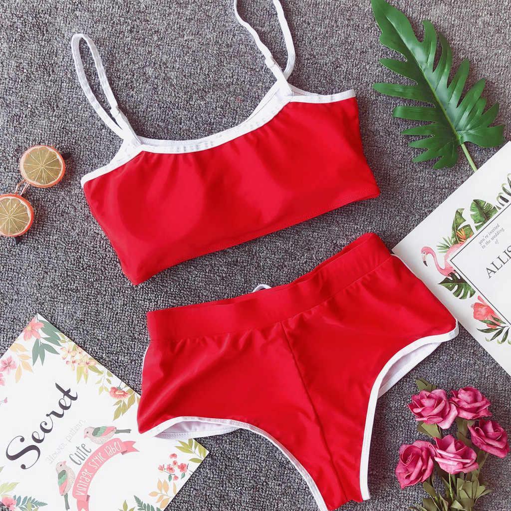 2019 traje de baño Sexy para mujer Push Up acolchado Sujetador Bikini conjunto deportivo casual encaje playa voleibol traje de baño playa Biquini