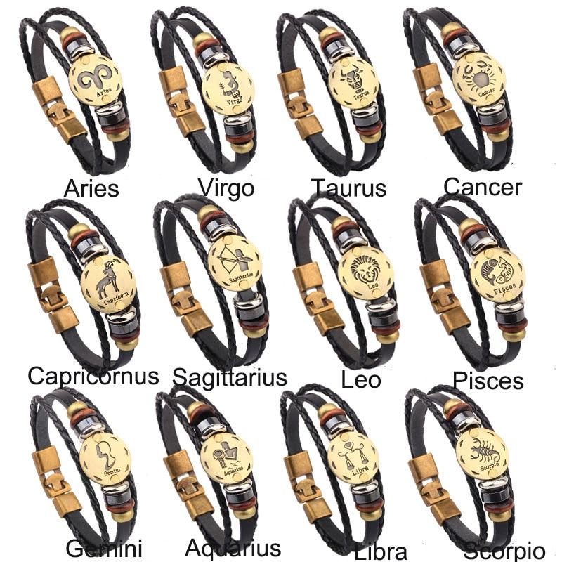 2018 Hand-gestrickte Echtem Rinds Schmuck Legierung Schnalle 12 Konstellation Armband Schmuck Charme Armbänder Täglichen Tragen Geschenk Für Männer