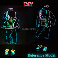Glowing Products EL Suit Not Include Cloth EL Wire Set Neon Glow Light For Christmas Party