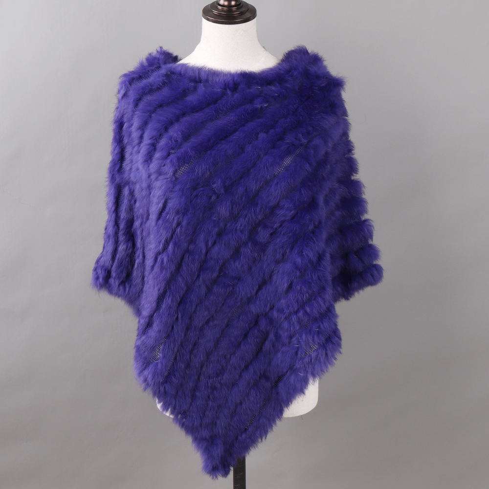 Image 4 - Autumn Winter Lady Genuine Knitted Rabbit Fur Poncho Wrap Scarves Women Natural Rabbit Fur Shawl Triangle Cape Wholesale Retail-in Women's Scarves from Apparel Accessories