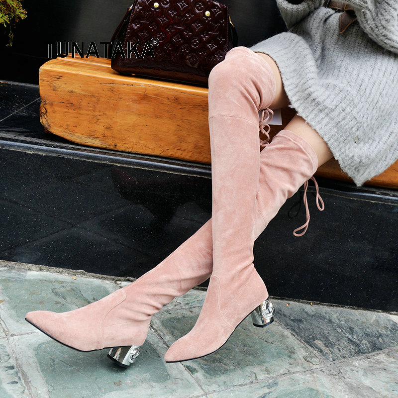 Women Comfortable Square Heel Suede Slip On Thigh Boots Fashion Pointed Toe Warm Winter Elastic Boots Black Pink Gray women suede slip on over the knee boots fashion winter rivet comfortable square heel elastic boots black gray dark gray
