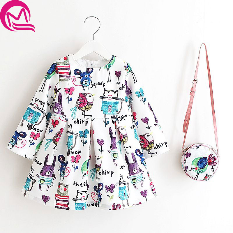 Girl Dresses 2017 Autumn Princess Dress with Bag Robe Fille Enfant Graffiti Print Pattern Long Sleeve Girl Dress Kids Clothes childrendlor baby brocade floral print toddler girl dress carretto 2017 a line princess dresses kids clothes robe fille enfant