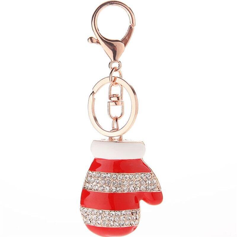 Mini Santa Clauss Gloves Keychain Fashion Rhinestone Trinkets Metal Key Chain For Women Bag Phone Charms Pendant Jewelry Gift