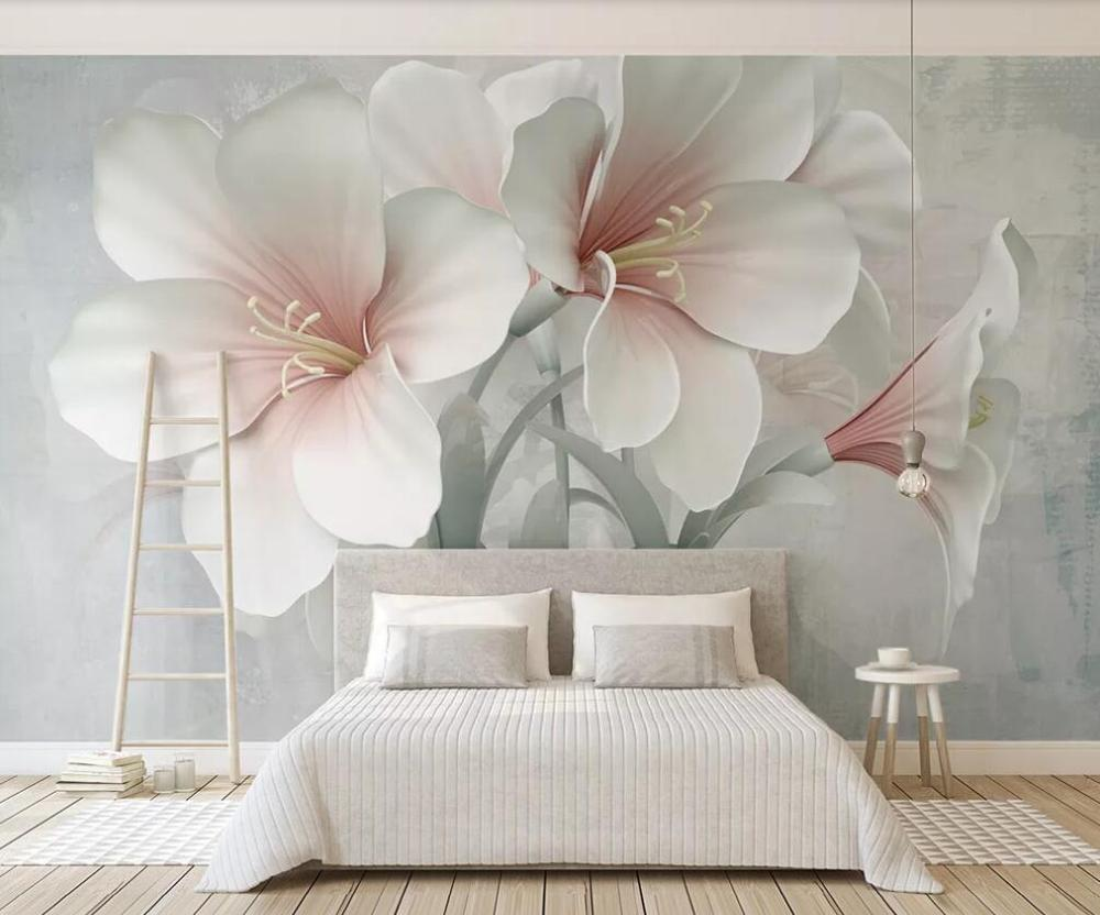 Customized Large-scale 3D Mural Wallpaper Flower 3D 3D Embossed Flower TV Background Wall