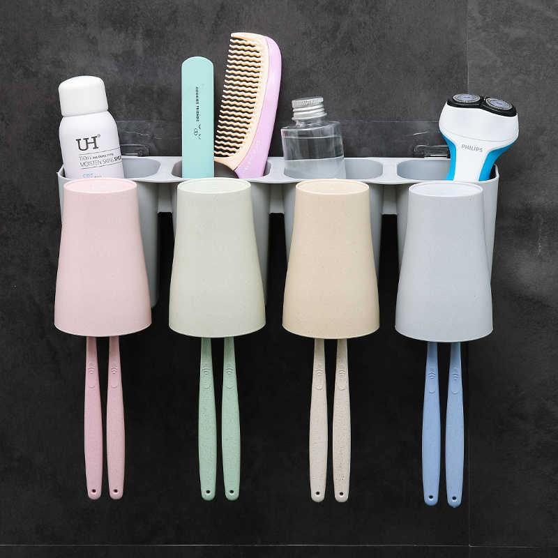 HS050 kreatywny uchwyt na szczoteczki do zębów kubek ścienny zestaw szczoteczka do zębów stojak do montażu na ścianie szczoteczki do zębów i płukanie garnitur