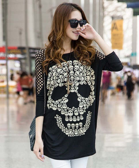 Long Maternity women pregnancy funny xray skeleton bany print nursing Cutout clothes for pregnant skull clothing human blouses