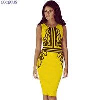 Cockcon nữ thời trang chắp vá dress new elegant bodycon dress 2017 không tay màu vàng bút chì mùa hè dress