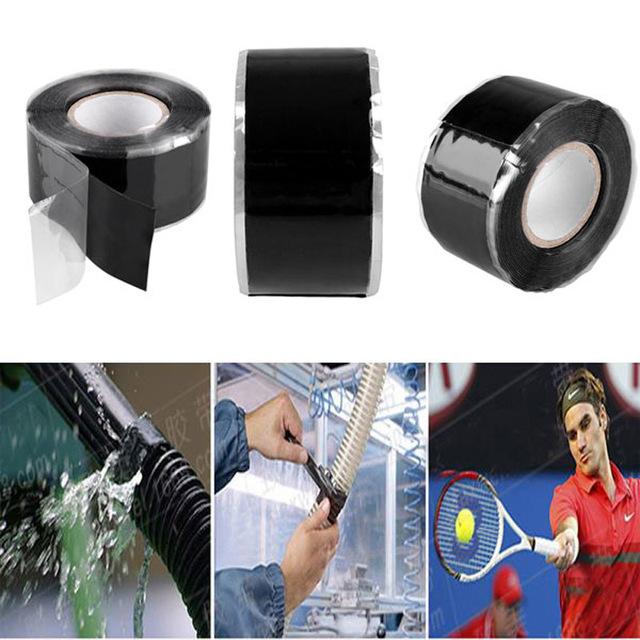 Useful Tools Waterproof Silicone Performance Repair Tape Bonding Rescue Self Fusing Hose Black Garden Water Pipe Connector