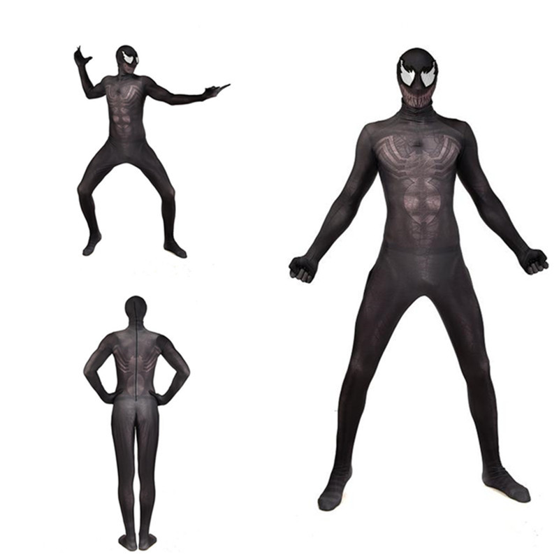 Mens Black Venom Costume 3D Printed Venom Bodysuit Hallowen Eddie BrockJumpsuit Cosplay Costume with mask