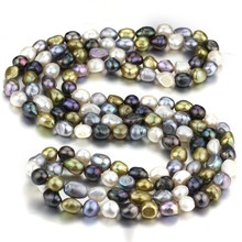 SNH AA beautiful new mixed real genuine cultured 10mm baroque natural freshwater pearl necklace jewelry design free shipping