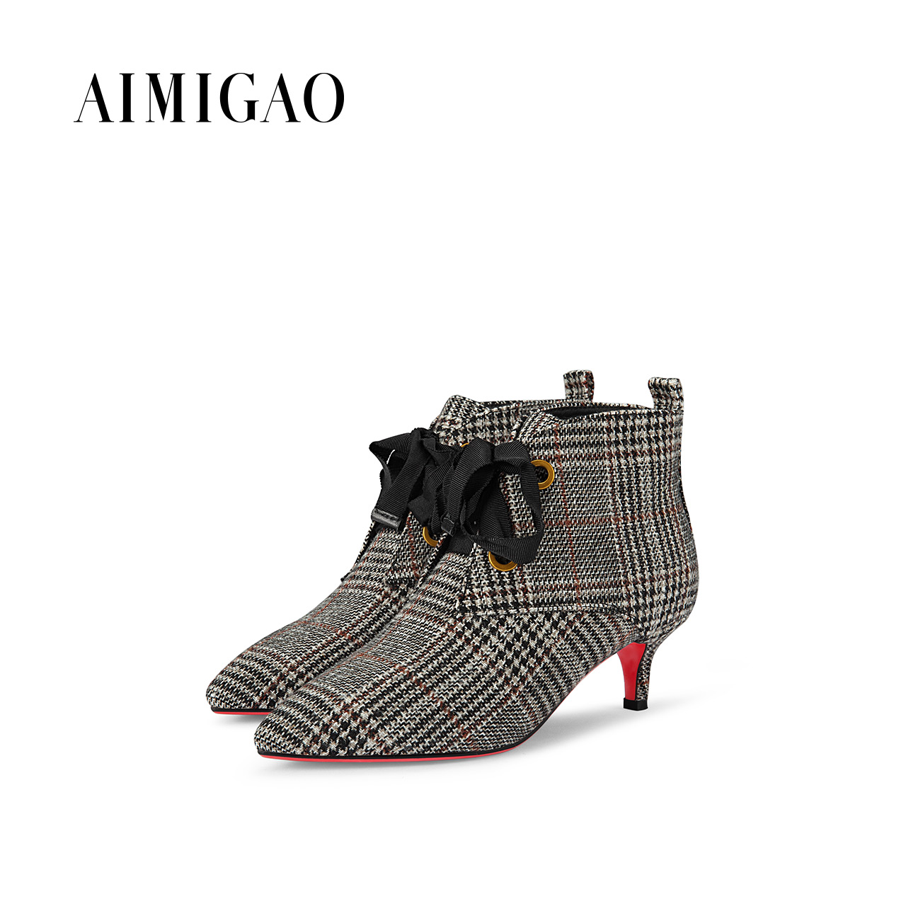 AIMIGAO 2017 winter new pointed toe Fashion Lace up Women Boots ladies lattice cloth women ankle boots Women Shoes british style british style lace up and round toe design women s boots