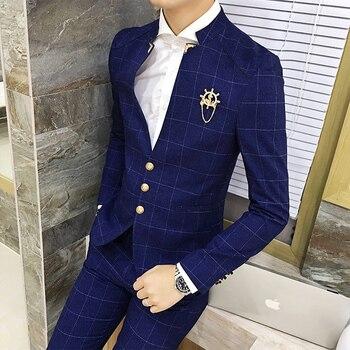 freeshipping costume homme 2016 Korean fall fashion slim terno masculino Plaid V-neck casual business wedding 2-piece set suits