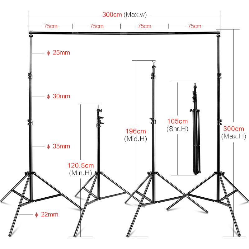 Photography Studio Photo Video 3m/9.8ft Wide Cross Bar 2.8m/9.2ft Tall Background Frame Stand Backdrop Support System Kit