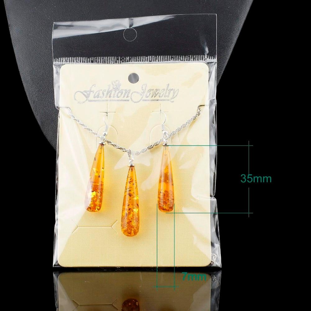 Women's Chic Tear Drop Baltic imitation Pendant Necklace Earring Wedding Jewelry Set L40601
