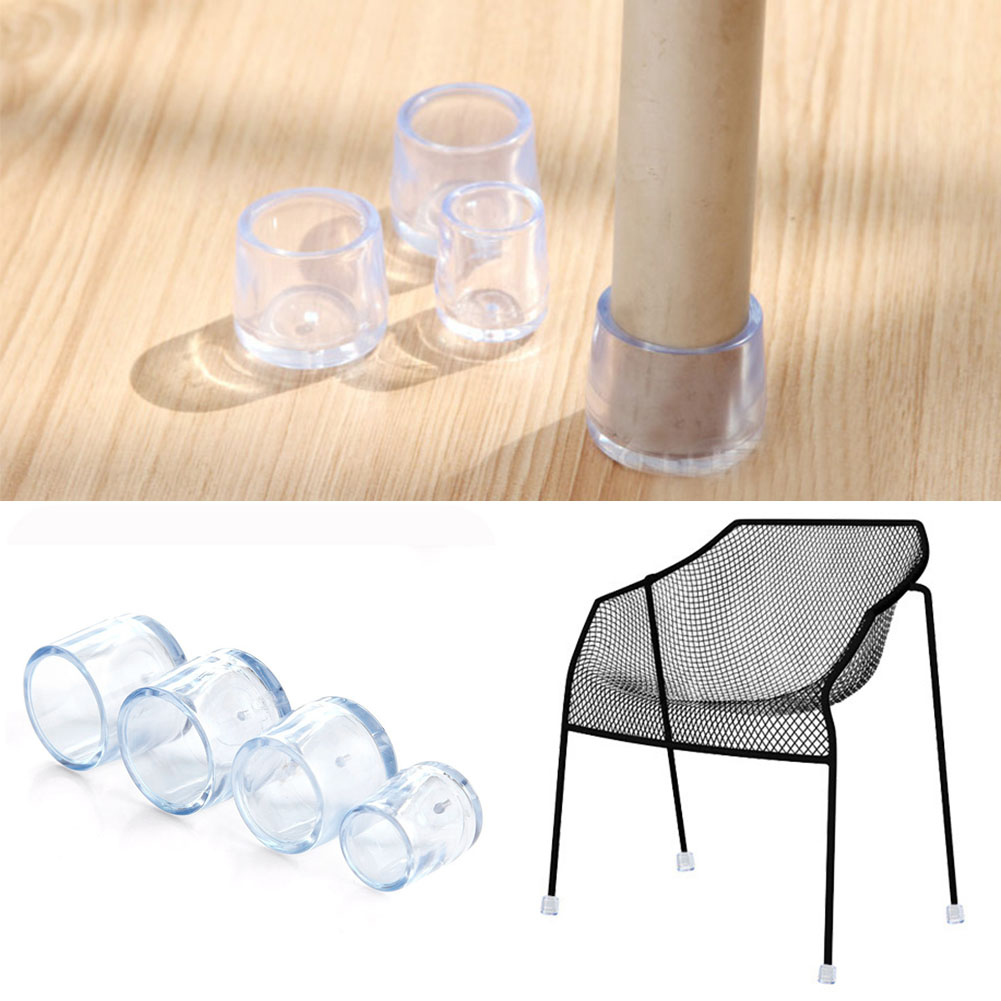 8 Pcs Furniture Dining Room Chair Floor Skin Care Stop Caps Protector  Round Chair Leg Caps Feet Pads Transparent 5 Sizes
