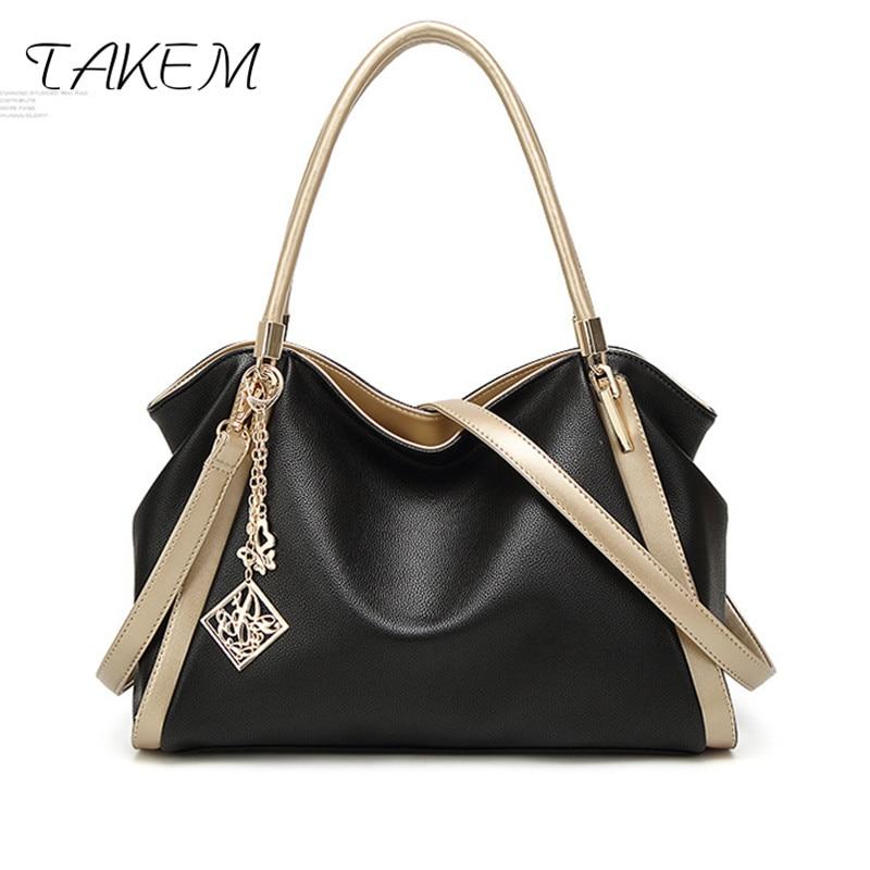 TAKEM Large Capacity Causal Tote Bag For Women PU Leather Shoulder Bag Vintage Designer Shopper Bags Luxury Top-handle Handbags