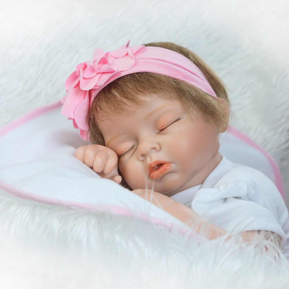"Buy Soft silicone Reborn babies dolls toys 22"" cloth body baby newborn dolls realistic sleeping newborn baby bebe bonecas child gift"